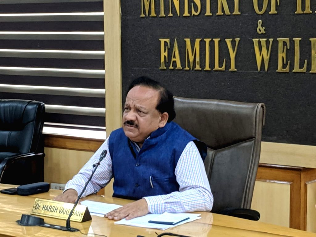 New Delhi: Union Health & Family Welfare Minister Harsh Vardhan chairs a meeting to review actions and preparedness for COVID-19 management through video conferencing with Health Ministers, Chief Secretaries of States and UTs and other related office - Harsh Vardhan