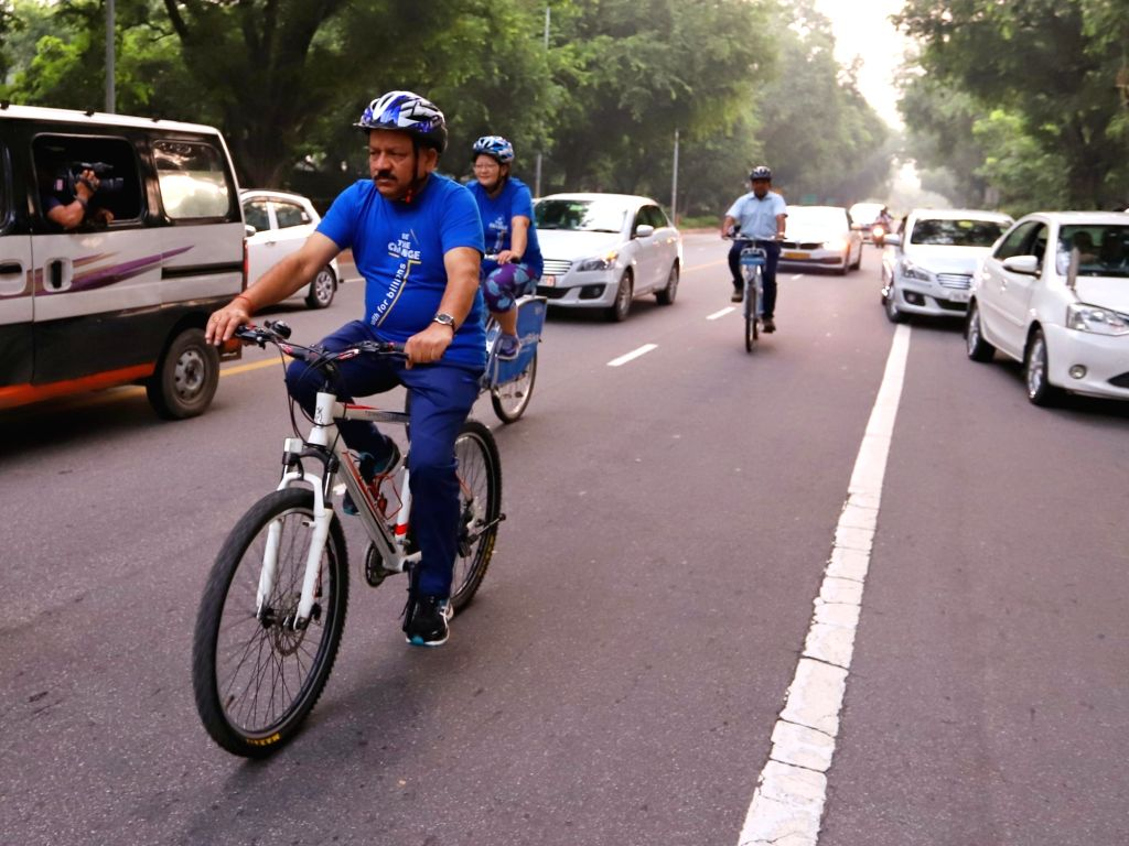 New Delhi: Union Health Minister Dr Harsh Vardhan cycles to the venue of the 72nd session of World Health Organization (WHO) Regional Office for South-East Asia (SEARO) in New Delhi on Sep 3, 2019. (Photo: IANS) - D