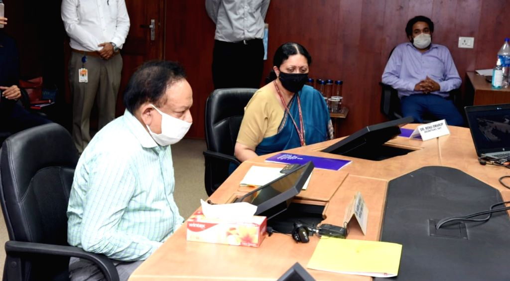 New Delhi: Union Health Minister Harsh Vardhan at the launch of India's first I-Lab (Infectious disease diagnostic lab) for COVID-19 testing in rural and inaccessible areas of India, in New Delhi on June 18, 2020. (Photo: IANS/PIB) - Harsh Vardhan