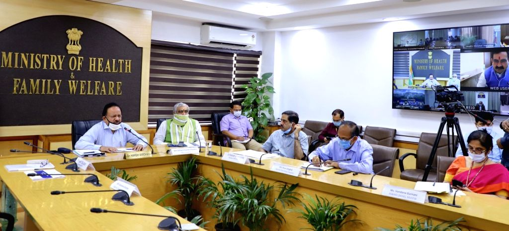 New Delhi: Union Health Minister Harsh Vardhan chairs a high level review meeting with the State Health Ministers and Health Secretaries regarding the steps taken on COVID-19 through video conferencing during the extended nationwide lockdown imposed  - Harsh Vardhan