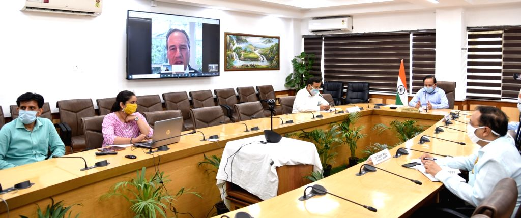 New Delhi: Union Health Minister Harsh Vardhan holds a virtual interaction with his Australian counterpart Gregory Andrews Hunt to discuss bilateral cooperation in the field of health, in New Delhi on July 14, 2020. (Photo: IANS/PIB) - Harsh Vardhan