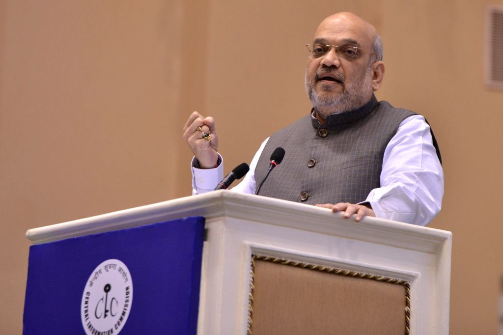 New Delhi: Union Home Minister Amit Shah addresses at the 14th Annual Convention of the Central Information Commission (CIC) in New Delhi on Oct 12, 2019. (Photo: IANS) - Amit Shah