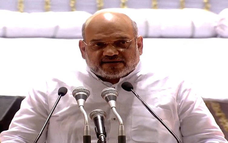 New Delhi: Union Home Minister Amit Shah addresses during a condolence meet organised in the remembrance of Former Finance Minister Arun Jaitley, in New Delhi oon Sep 10, 2019. (Photo: IANS) - Amit Shah and Arun Jaitley