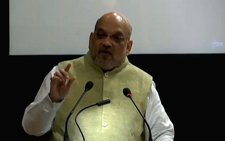 New Delhi: Union Home Minister Amit Shah addresses during the 49th Foundation Day celebrations of Bureau of Police Research and Development (BPR&D) in New Delhi, on Aug 28, 2019. (Photo: IANS/BJP) - Amit Shah
