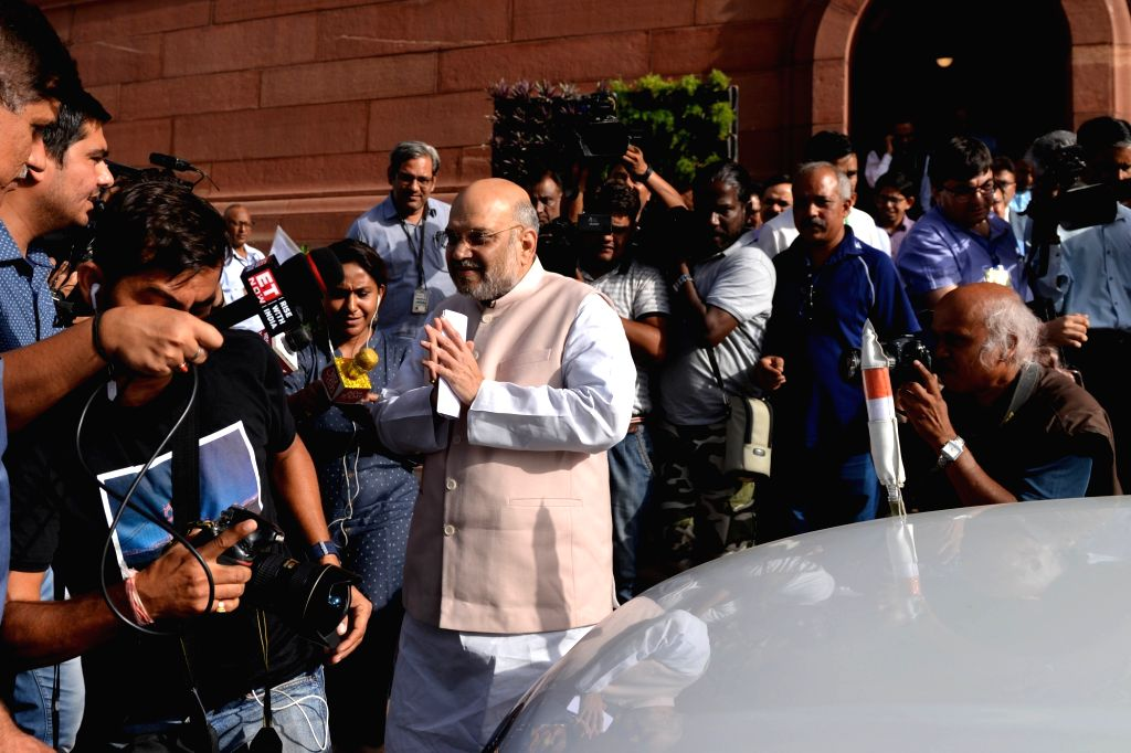 New Delhi: Union Home Minister Amit Shah arrives at Parliament, in New Delhi on June 28, 2019. (Photo: IANS) - Amit Shah