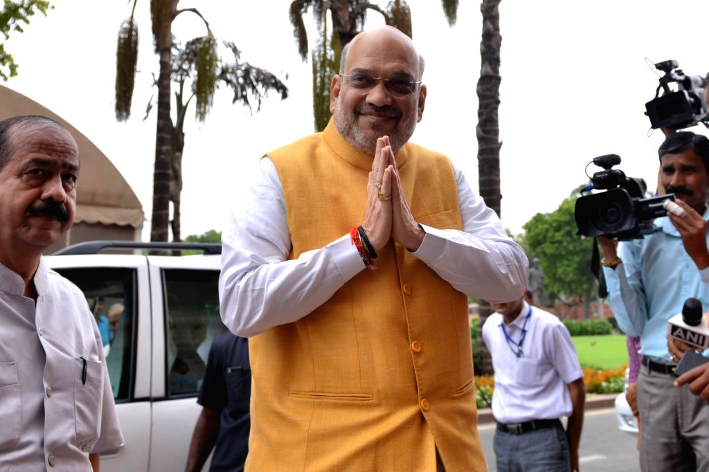 New Delhi: Union Home Minister Amit Shah arrives at Parliament, in New Delhi on July 3, 2019. (Photo: IANS) - Amit Shah