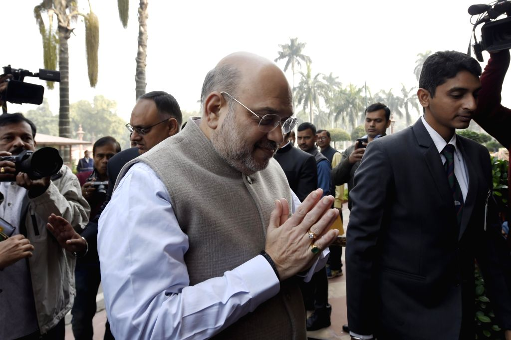 New Delhi: Union Home Minister Amit Shah arrives at the Parliament during the ongoing Winter Session in New Delhi on Dec 10, 2019. (Photo: IANS) - Amit Shah