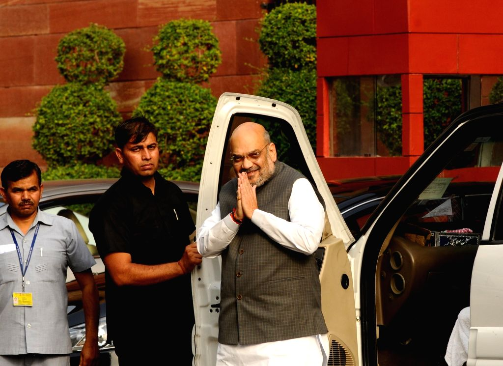 New Delhi: Union Home Minister Amit Shah arrives to attend the first cabinet meeting after taking oath, at South Block in New Delhi on May 31, 2019. (Photo: IANS) - Amit Shah