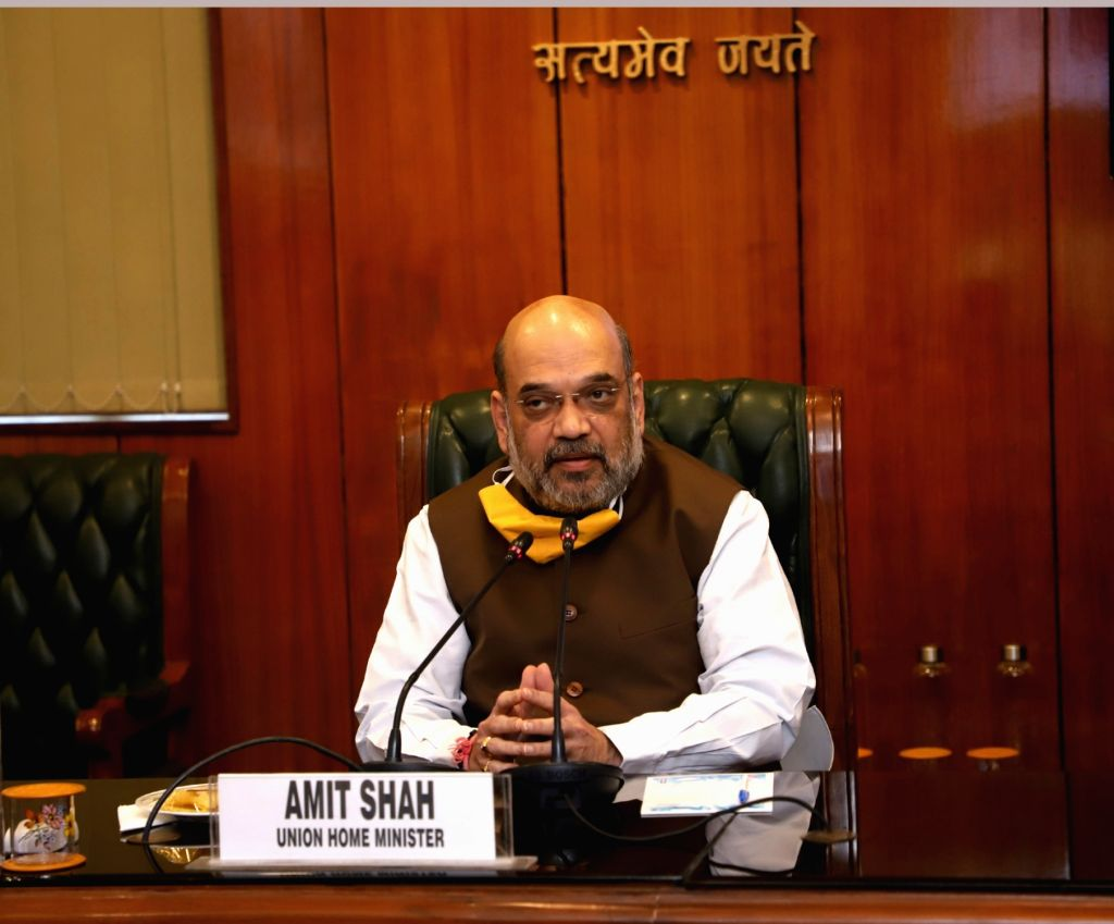 New Delhi: Union Home Minister Amit Shah chairs a meeting of all political parties in New Delhi on the COVID-19 situation in the national capital, on June 15, 2020. (Photo: IANS/PIB) - Amit Shah
