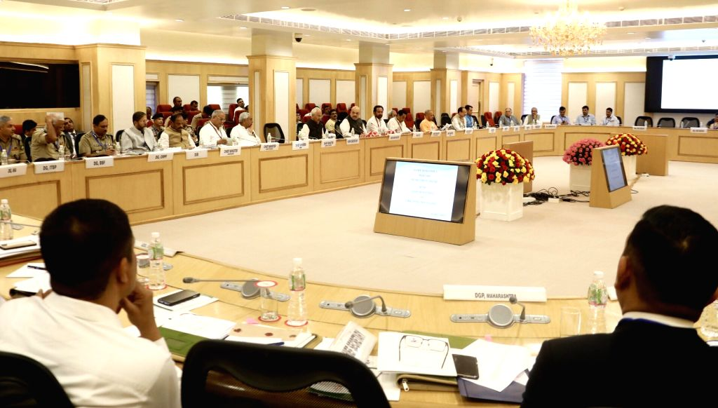 New Delhi: Union Home Minister Amit Shah chairs a meeting of all Chief Ministers of Maoist-affected states to review the operations against the insurgent groups and initiatives taken over the issue, at Vigyan Bhawan in New Delhi on Aug 26, 2019. Unio - Amit Shah