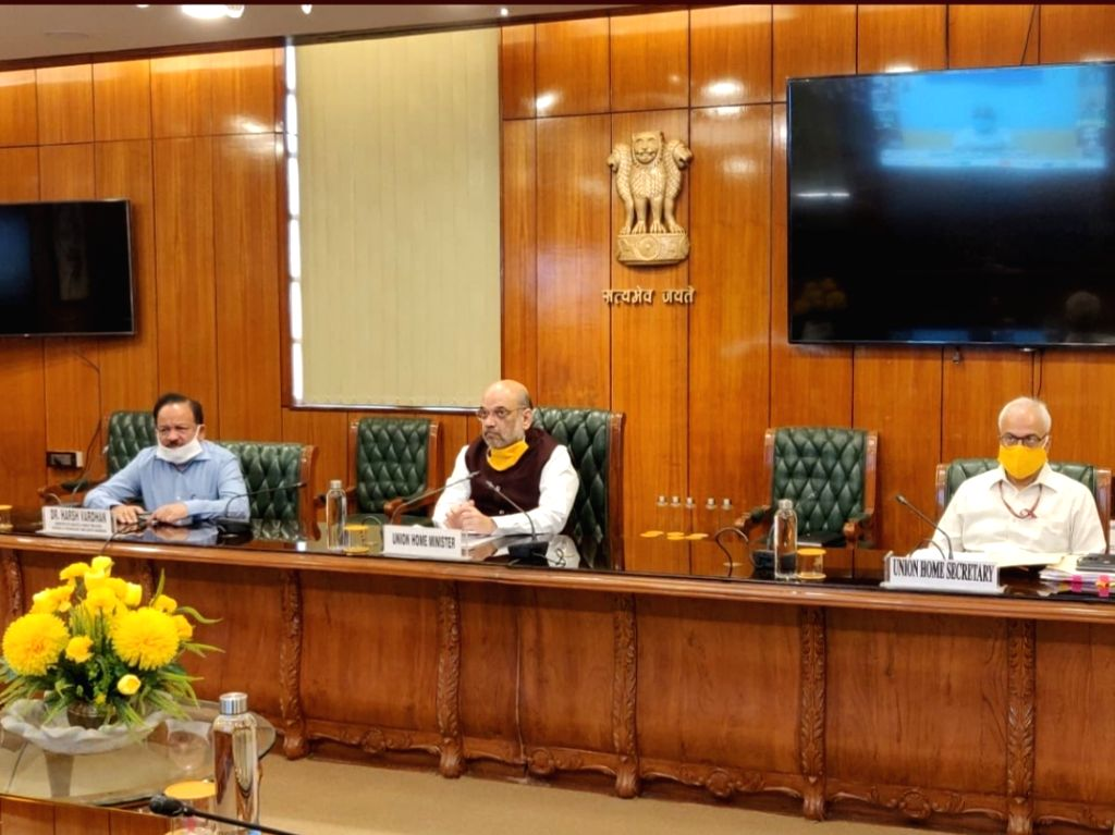 New Delhi: Union Home Minister Amit Shah holds an interaction with doctors and particularly with the Indian Medical Association (IMA) through video conferencing during the extended nationwide lockdown imposed to mitigate the spread of coronavirus; in - Amit Shah