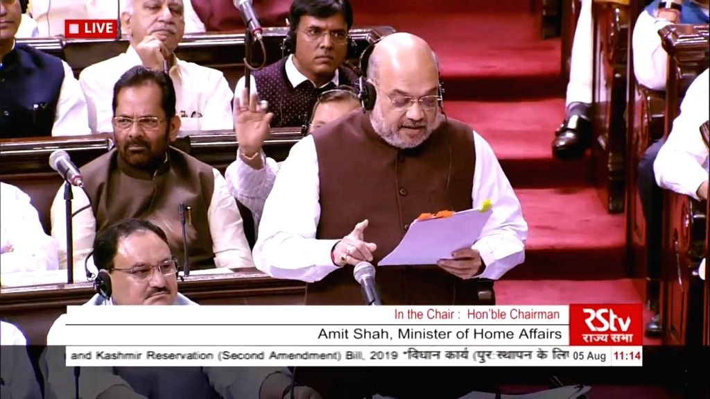 New Delhi: Union Home Minister Amit Shah in Rajya Sabha on Aug 5, 2019. (Photo: IANS/RSTV) - Amit Shah