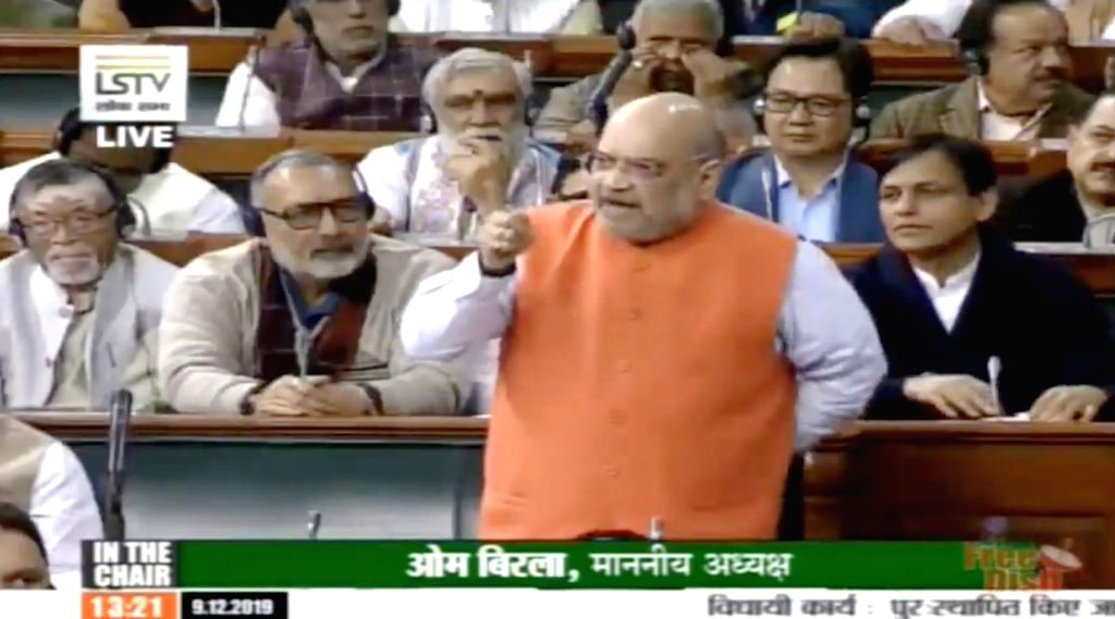 New Delhi: Union Home Minister Amit Shah introduce the Citizenship (Amendment) Bill, 2019 in the Lok Sabha at the Parliament in New Delhi on Dec 9, 2019. (Photo: LSTV/IANS) - Amit Shah
