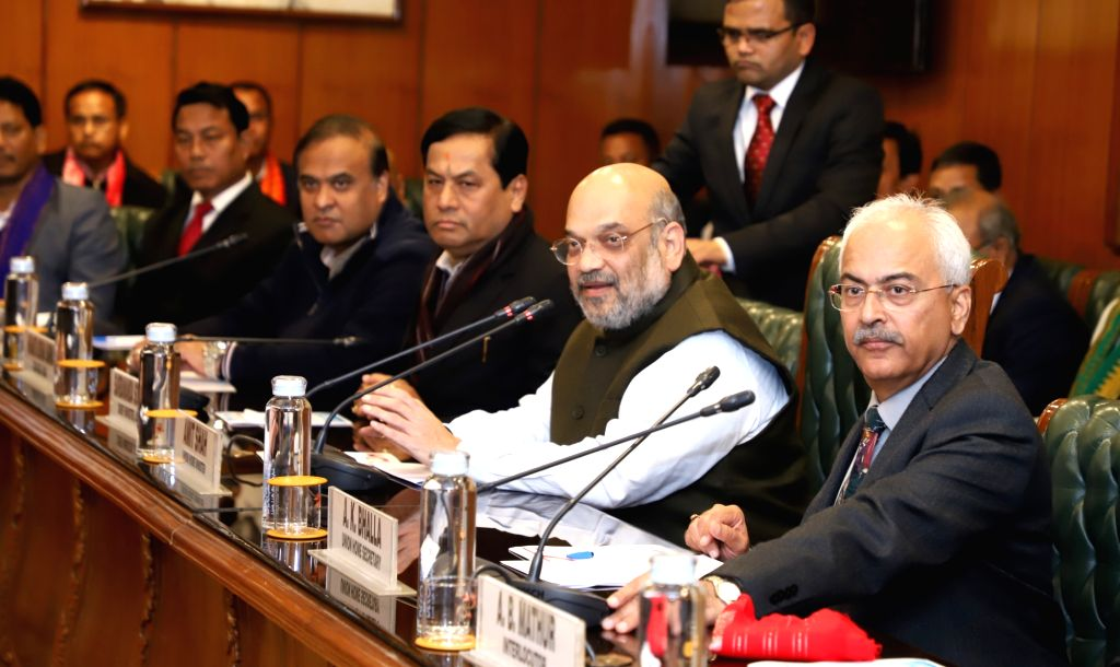New Delhi: Union Home Minister Amit Shah presides over the signing of a historic agreement between Government of India, Government of Assam and Bodo representatives, to end the over 50-year old Bodo crisis, in New Delhi on Jan 27, 2020. Also seen Ass - Amit Shah