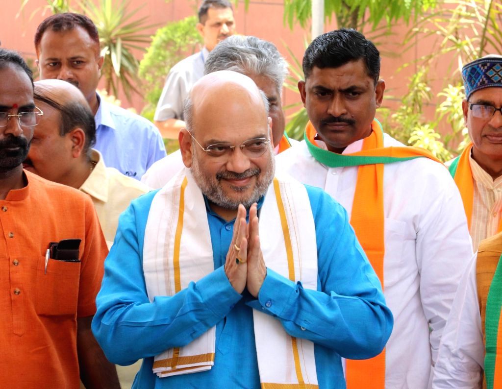 New Delhi: Union Home Minister and BJP President Amit Shah arrives to chair a meeting of the party's national office-bearers including state chiefs to discuss the schedule for organizational elections, membership drive and other related issues such a - Amit Shah and General-Secretary Muralidhar Rao