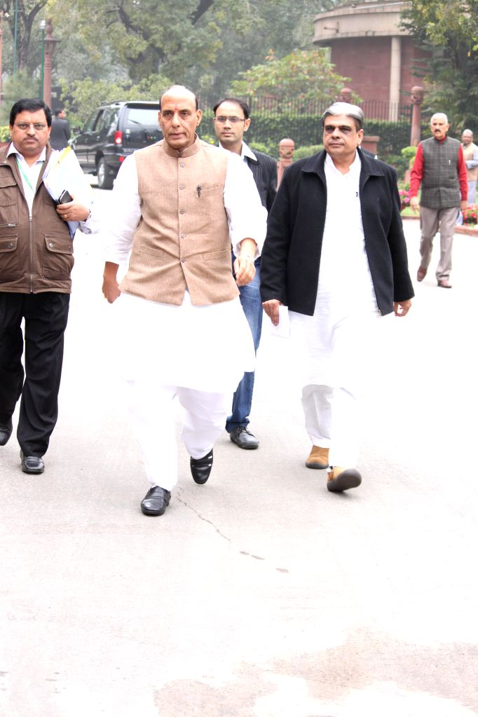 Union Home Minister Rajnath Singh arrives at the Parliament to attend BJP parliamentary party meeting in New Delhi, on March 3, 2015. - Rajnath Singh