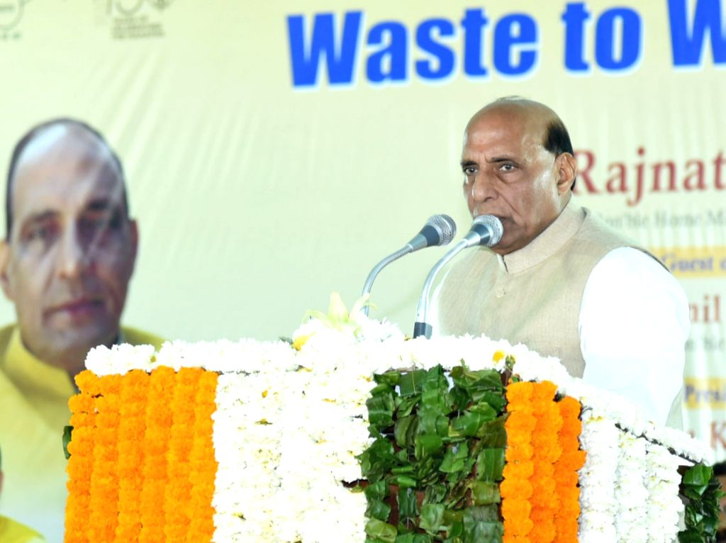 "New Delhi: Union Home Minister Rajnath Singh addresses at the inauguration of the ""Waste to Wonder"" Park under the South Delhi Municipal Corporation (SDMC), in New Delhi on Feb 21, 2019. (Photo: IANS/PIB) - Rajnath Singh"