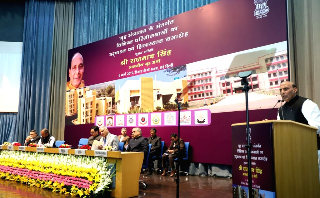 New Delhi: Union Home Minister Rajnath Singh addresses at the inauguration and foundation stone laying ceremony of the various residential and office buildings of CAPFs, CPOs and Delhi Police, in New Delhi, on March 6, 2019. Also seen Union MoS Home  - Rajnath Singh