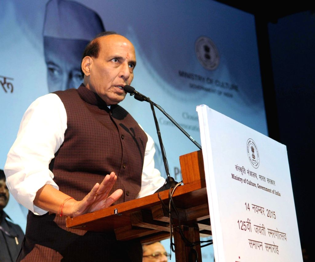 :New Delhi: Union Home Minister Rajnath Singh addresses at the closing ceremony of the commemoration of 125th Birth Anniversary of the former Prime Minister, Pandit Jawaharlal Nehru, in New Delhi ... - Jawaharlal Nehru