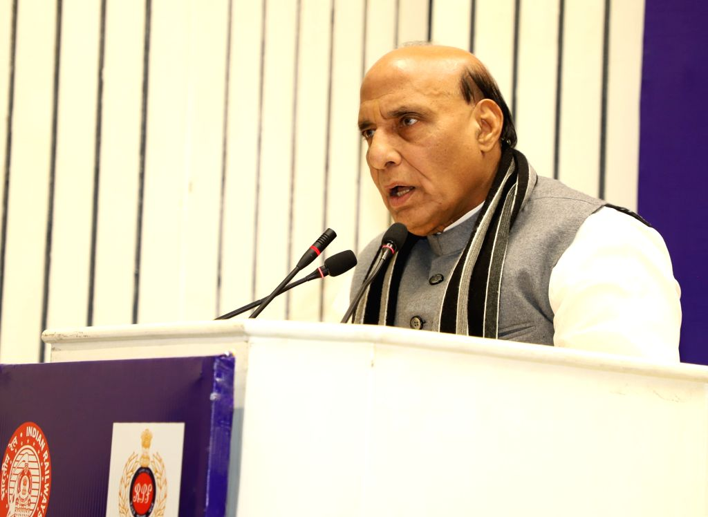 New Delhi: Union Home Minister Rajnath Singh addresses at the Conference on Railway Security in New Delhi, on Jan 16, 2019. (Photo: IANS/PIB) - Rajnath Singh