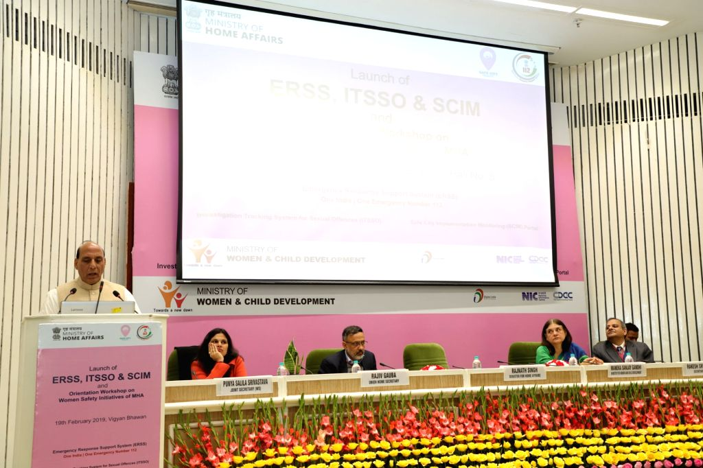 New Delhi: Union Home Minister Rajnath Singh addresses at the launch of pan-India emergency number 112 under Emergency Response Support System (ERSS), in New Delhi, on Feb 19, 2019. Also seen Union Women and Child Development Minister Maneka Sanjay G - Rajnath Singh and Maneka Sanjay Gandhi