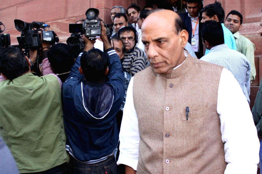 Union Home Minister Rajnath Singh at the Parliament premises in New Delhi, on Dec 3, 2014. - Rajnath Singh