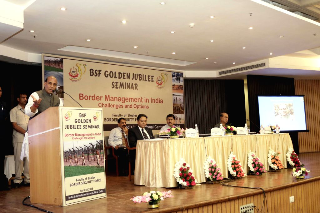 Union Home Minister Rajnath Singh at BSF Golden Jubilee Seminar in New Delhi on April 30, 2015.
