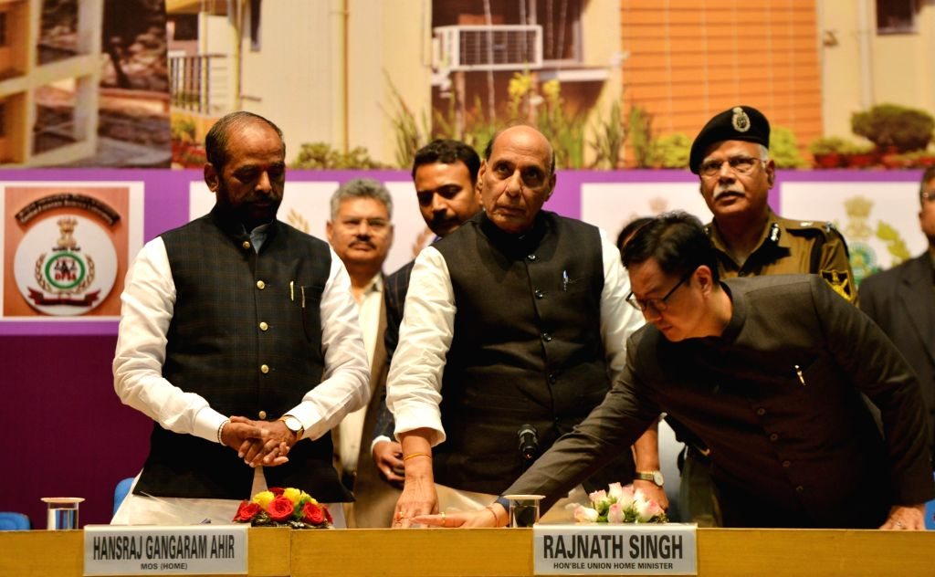 New Delhi: Union Home Minister Rajnath Singh at the inauguration and foundation stone laying ceremony of the various residential and office buildings of CAPFs, CPOs and Delhi Police, in New Delhi, on March 6, 2019. Also seen Union Ministers Hansraj G - Rajnath Singh, Hansraj Gangaram Ahir and Kiren Rijiju