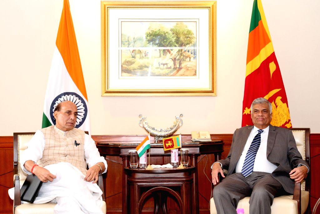 New Delhi: Union Home Minister Rajnath Singh calls on the Sri Lankan Prime Minister Ranil Wickremesinghe in New Delhi on Oct 5, 2016. - Rajnath Singh