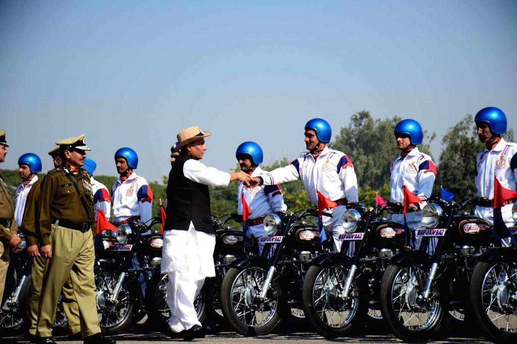 Union Home Minister Rajnath Singh meets soldiers during  BSF Raising Day parade New Delhi  on Dec 1, 2014. - Rajnath Singh