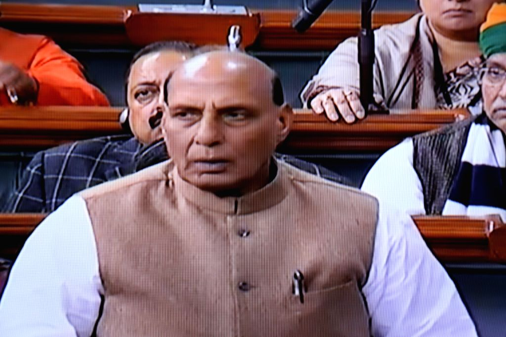 New Delhi:Union Home Minister Rajnath Singh speaks in Lok Sabha during the Budget session of Parliament, in New Delhi on Feb 4, 2019. (Photo: IANS/LSTV Grab) - Rajnath Singh