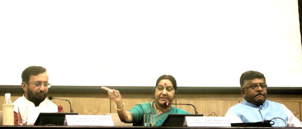 New Delhi:Union HRD Minister Prakash Javadekar, External Affairs Minister Sushma Swaraj and Union Information Technology Minister Ravi Shankar Prasad during a programme organised to launch ... - Prakash Javadekar and Sushma Swaraj