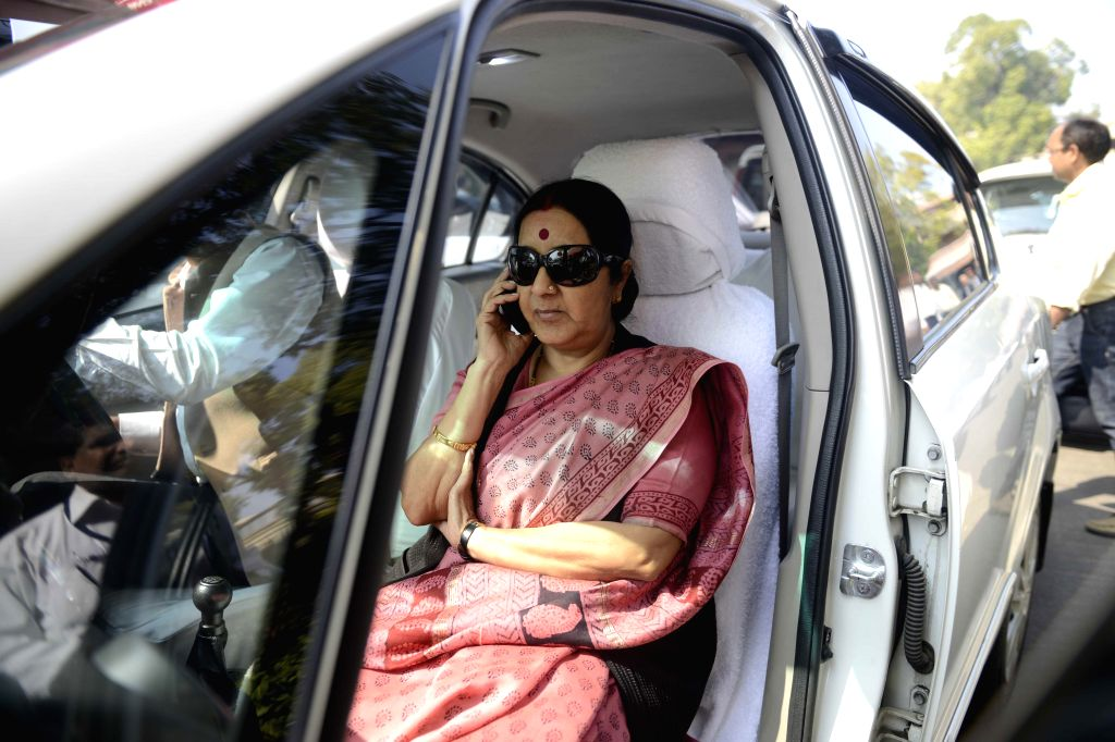 Union HRD Minister Smriti Irani at the Parliament in New Delhi, on March 17, 2015. - Smriti Irani