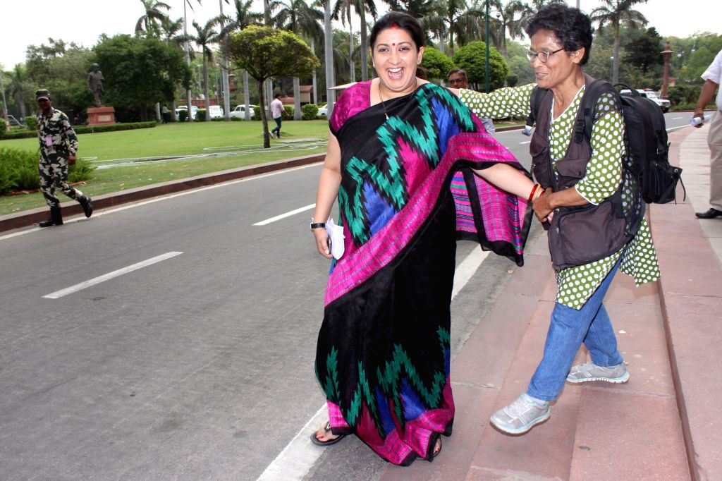 Union HRD Minister Smriti Irani  at the Parliament in New Delhi, on April 21, 2015. - Smriti Irani