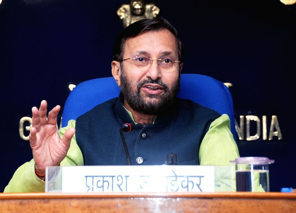 : New Delhi: Union Human Resource Development Minister Prakash Javadekar addresses a press conference on issues relating to school education in New Delhi, on Oct 18, 2018. (Photo: IANS/PIB).