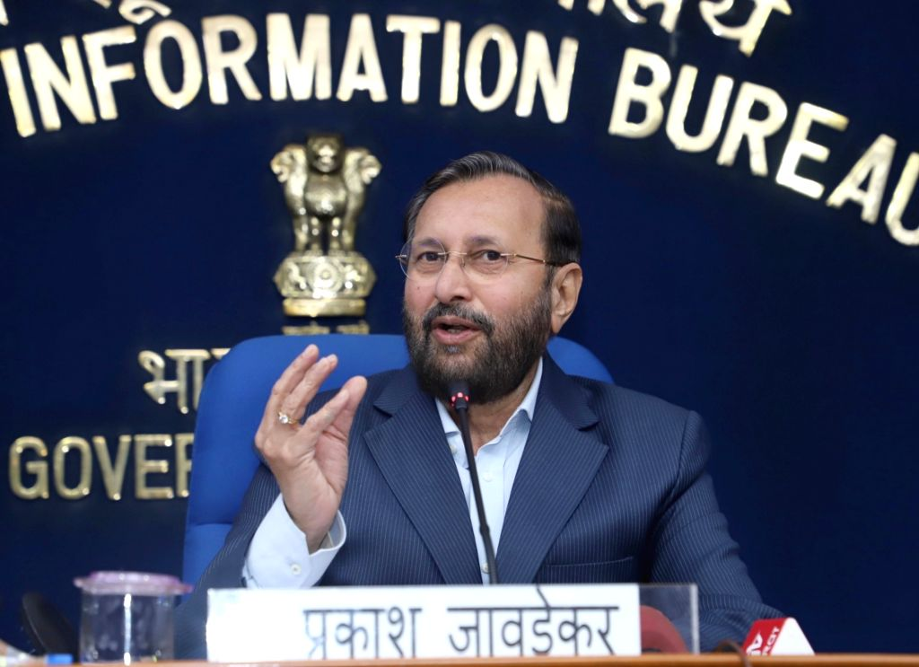 New Delhi: Union Human Resource Development Minister Prakash Javadekar addresses a press conference, in New Delhi, on Feb 20, 2019. (Photo: IANS/PIB) - Prakash Javadekar