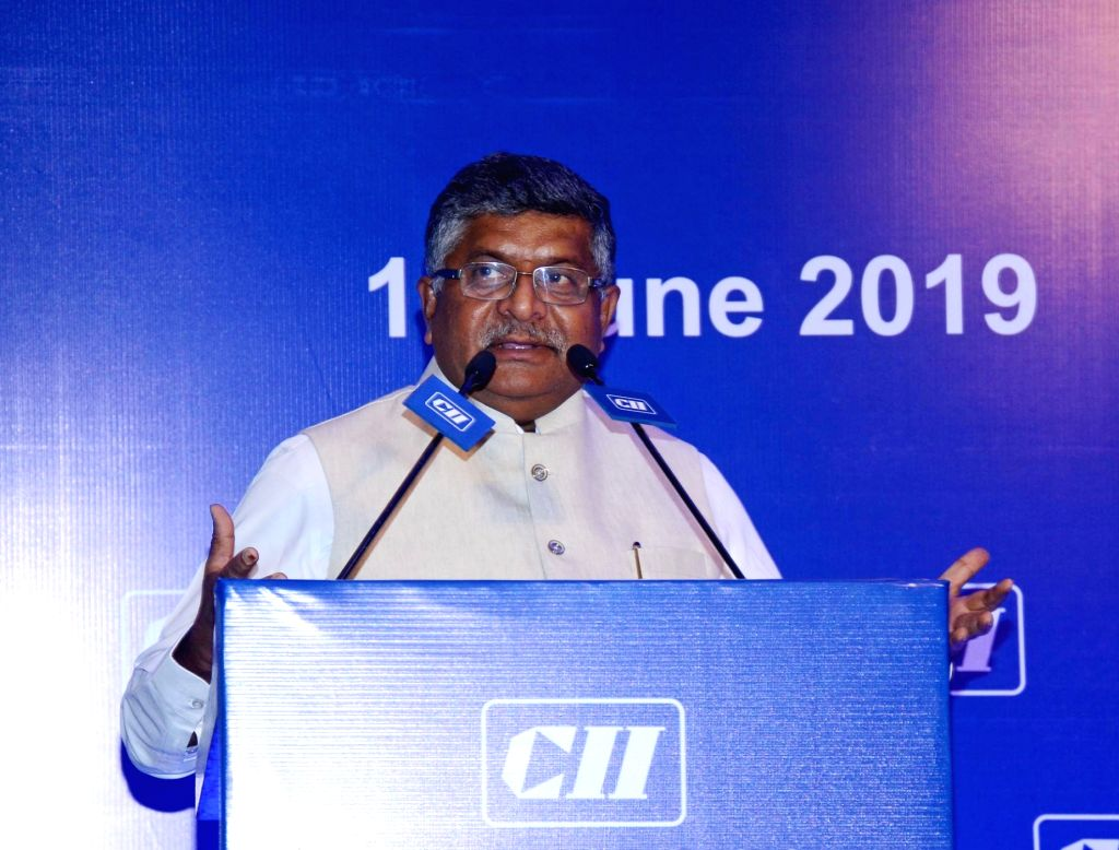 New Delhi: Union Law and Justice, Communications and Electronics and Information Technology Minister Ravi Shankar Prasad addresses the National Council Meeting of Confederation of Indian Industry (CII), in New Delhi on June 14, 2019. (Photo: IANS/PIB - Ravi Shankar Prasad