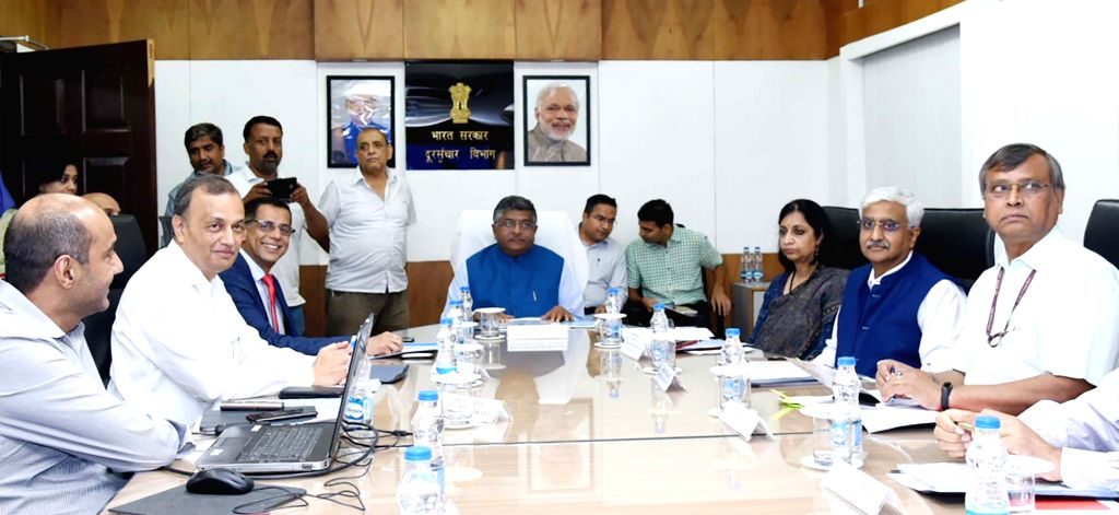 New Delhi: Union Law and Justice, Communications and Electronics and Information Technology Minister Ravi Shankar Prasad during a meeting with the CEOs of Telecom companies, in New Delhi on July 27, 2019. (Photo: IANS/PIB) - Ravi Shankar Prasad