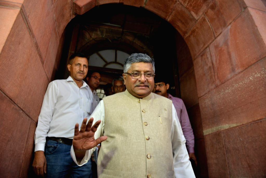 New Delhi: Union Law and Justice, Communications and Electronics and Information Technology Minister Ravi Shankar Prasad at Parliament in New Delhi on July 30, 2019. The Triple Talaq bill criminalising instant divorce in the Muslim community that was - Ravi Shankar Prasad