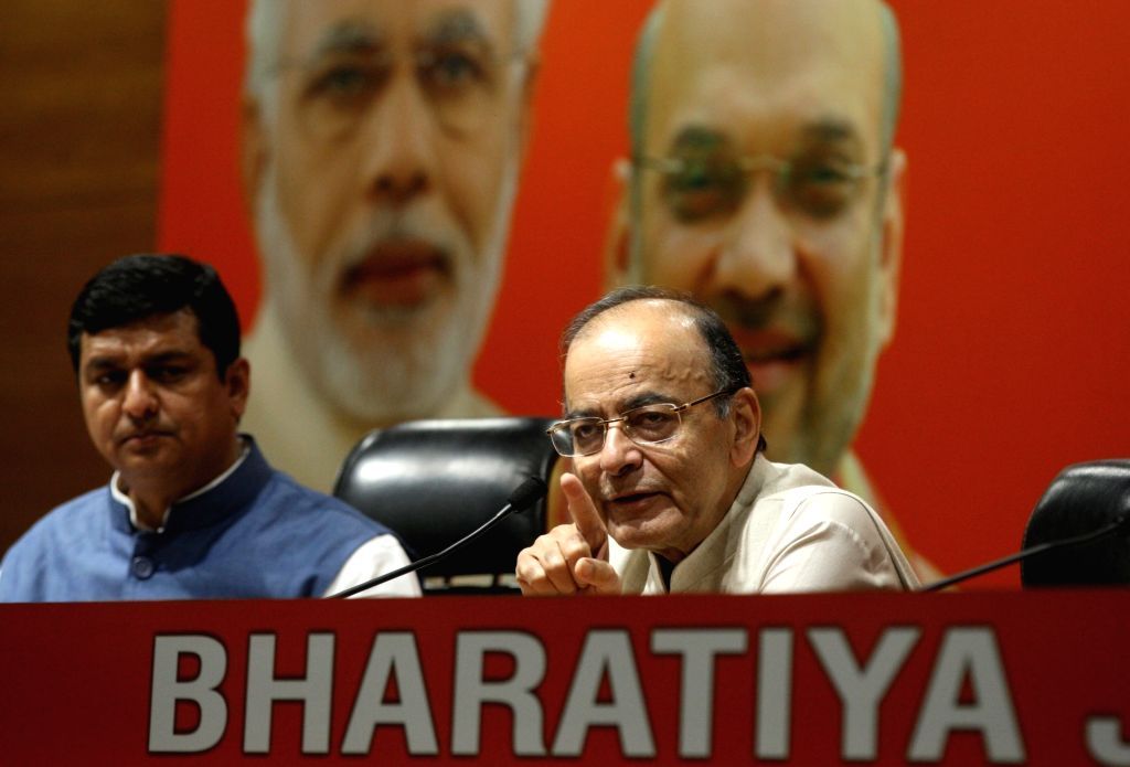 New Delhi: Union Minister and BJP leader Arun Jaitley addresses a press conference in New Delhi, on April 3, 2019. (Photo: IANS) - Arun Jaitley