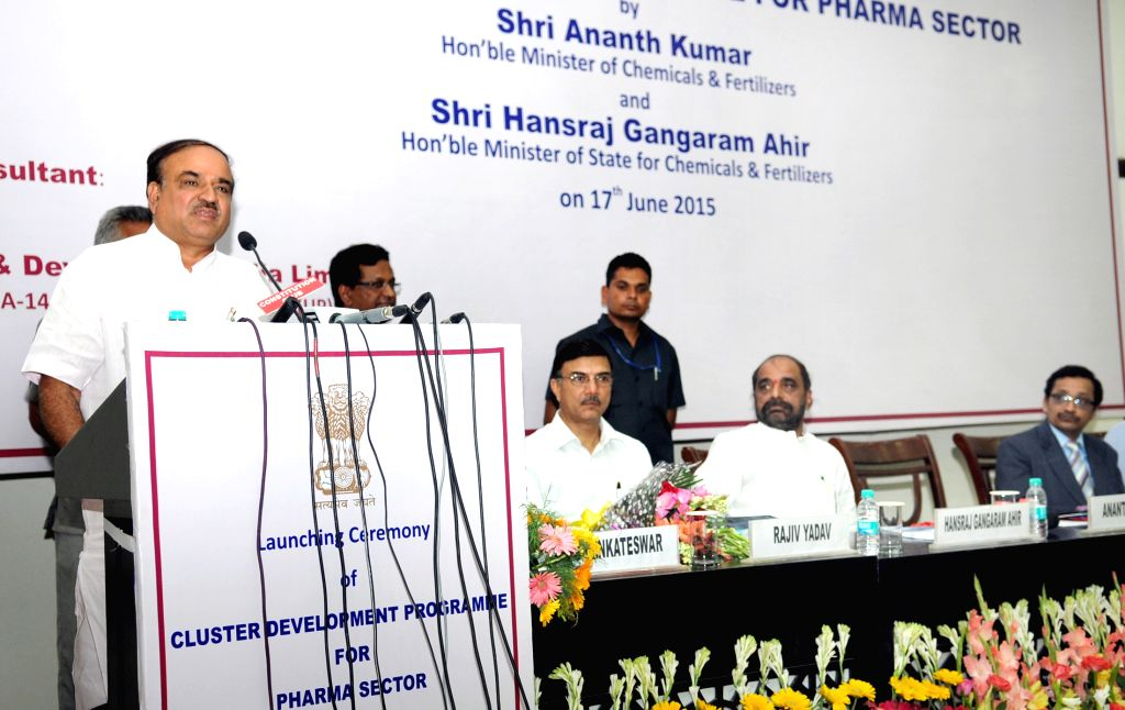 """Union Minister for Chemicals and Fertilizers Ananth Kumar addresses at the launch of the """"Cluster Development Programme for Pharma Sector"""", in New Delhi on June 17, 2015. - Ananth Kumar"""