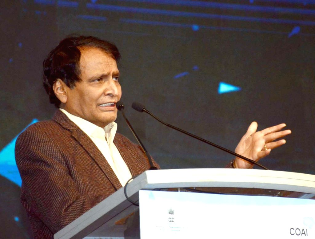 :New Delhi: Union Minister for Commerce & Industry and Civil Aviation Suresh Prabhu addresses at the India Mobile Congress - 2018, in New Delhi on Oct 25, 2018. (Photo: IANS/PIB).