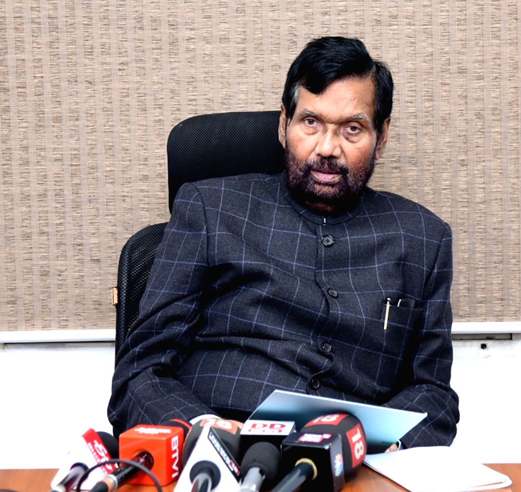 New Delhi: Union Minister for Consumer Affairs, Food and Public Distribution Ram Vilas Paswan addresses a press conference, in New Delhi on Feb 14, 2019. (Photo: IANS/PIB)