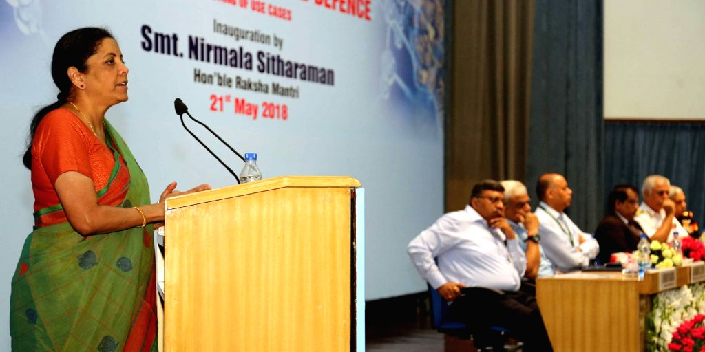 :New Delhi: Union Minister for Defence Nirmala Sitharaman addresses at the inaugural ceremony of the 'Stakeholders' Workshop on Artificial Intelligence in National Security and Defence, ...