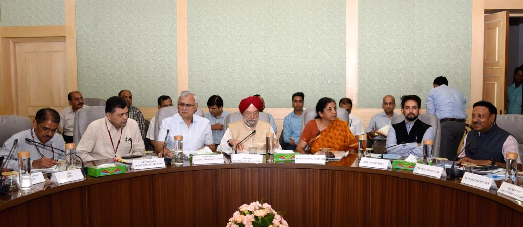 New Delhi: Union Minister for Finance and Corporate Affairs Nirmala Sitharaman and MoS Housing and Urban Affairs, Civil Aviation (Independent Charge) and Commerce & Industry Hardeep Singh Puri chairs the meeting with Real Estate sector representative - Hardeep Singh Puri