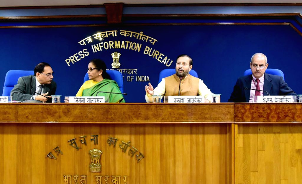 New Delhi: Union Minister for Finance and Corporate Affairs Nirmala Sitharaman and the Union Minister for Environment, Forest & Climate Change, Information & Broadcasting and Heavy Industries and Public Enterprise Prakash Javadekar brief the media on