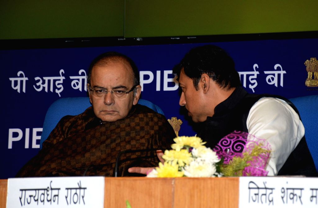 Union Minister for Finance, Corporate Affairs, and Information and Broadcasting Arun Jaitley with the Union Minister of State Information and Broadcasting Col. Rajyavardhan Singh Rathore ..