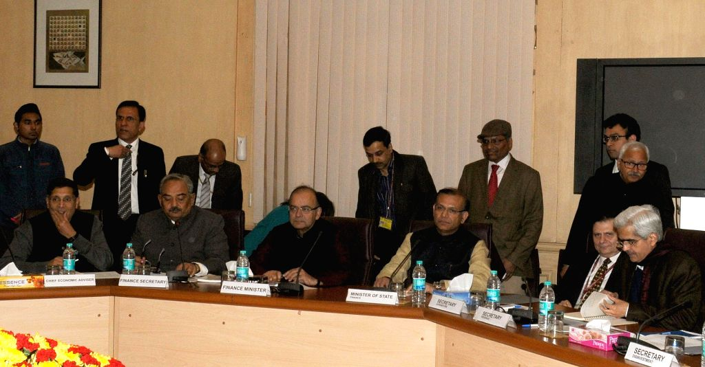 Union Minister for Finance, Corporate Affairs and Information and Broadcasting, Arun Jaitley during a Pre Budget Consultative Committee meeting with the Economists, in New Delhi on Jan 13, - Jayant Sinha