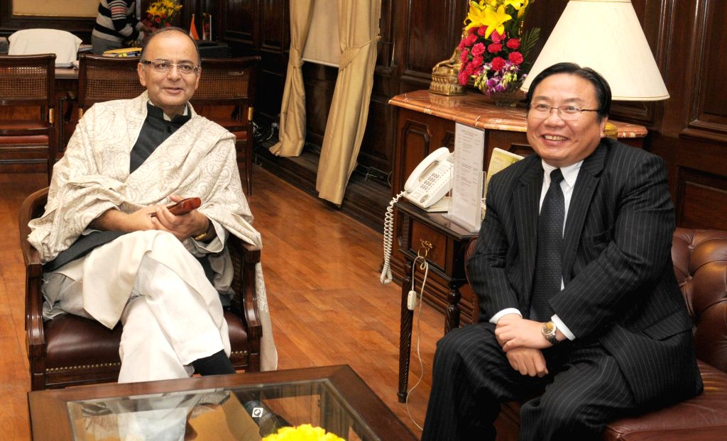 Union Minister for Finance, Corporate Affairs and Information & Broadcasting Arun Jaitley meets the Vice President of the Asian Development Bank Wencai Zhang, in New Delhi on Jan 15, ..