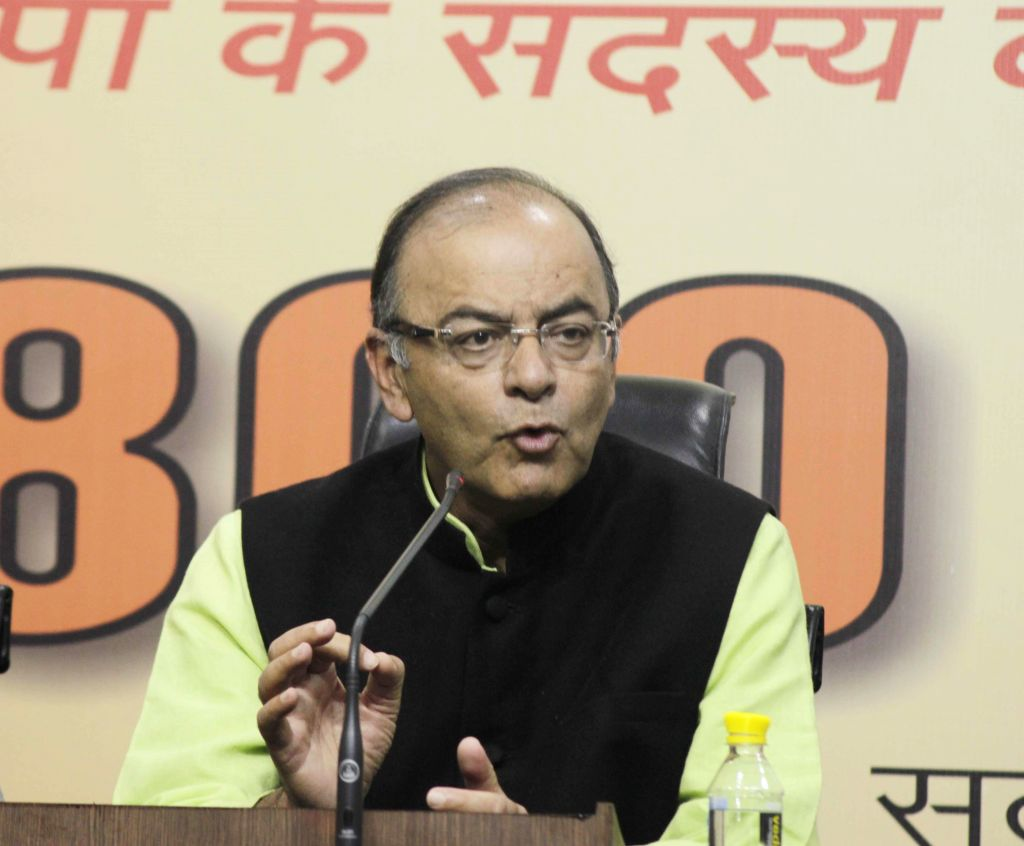 Union Minister for Finance, Corporate Affairs, and Information and Broadcasting Arun Jaitley addresses a BJP press conference in New Delhi, on Feb 6, 2015. - Arun Jaitley